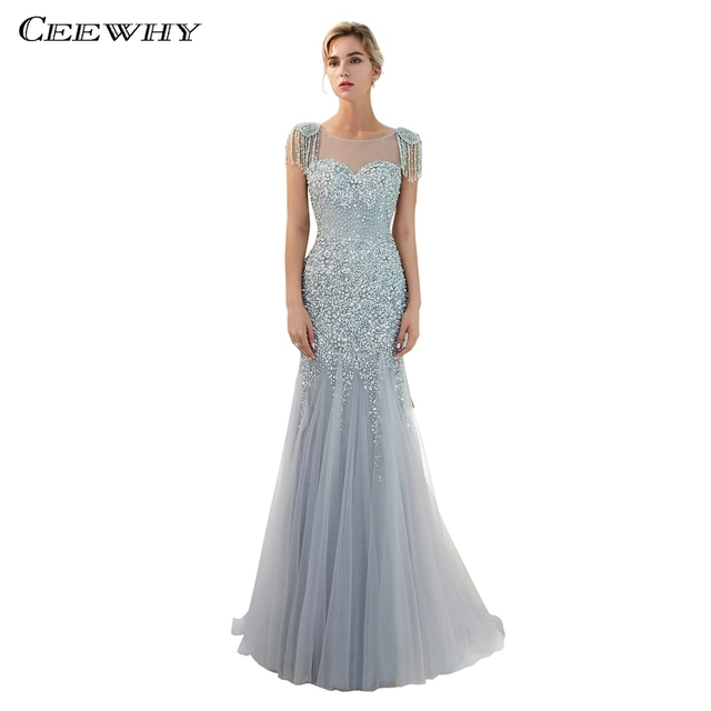 CEEWHY Luxury Muslim Evening Dress Plus Size Mermaid Dress Prom Gown Long Evening  Dresses Beaded Formal Dress Vestidos Largos 61278b9a3e01