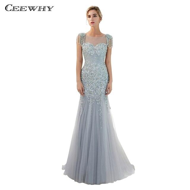 3f76e9b92fc CEEWHY Luxury Muslim Evening Dress Plus Size Mermaid Dress Prom Gown Long  Evening Dresses Beaded Formal Dress Vestidos Largos