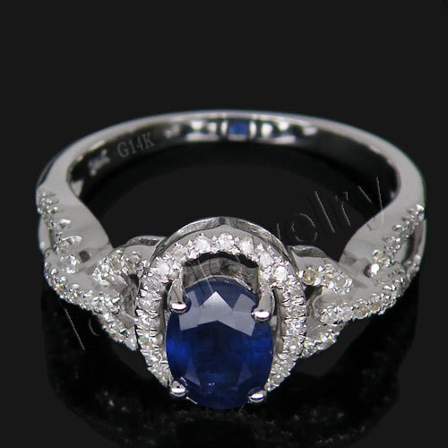 Big Sale!Vintage Sapphire Jewel Ring Au585/14Kt White Gold Diamond Sapphire Ring Oval 5x7mm For Women G090458 vintage oval carved ring for women
