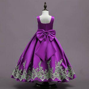 Image 5 - Vestido azul real largo de verano para niña, viste un gran lazo, vestidos de flores para niña, aplique dorado, vestido de desfile para niña, vestidos de primera comunión