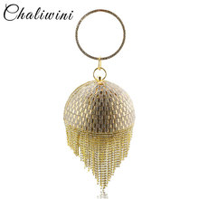 Golden Diamond Tassel Women Party Metal Crystal Clutches Eve