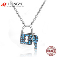 Brighton 925 Sterling Silver Necklace For Women Blue Rhinestone Key Lock Charms Pendants Best Friend Lover
