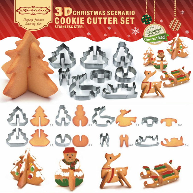 8 Teile/satz DIY Edelstahl Backformen 3D Weihnachten Ausstecher Biskuitform Fondant Kuchen Dekorieren Tools