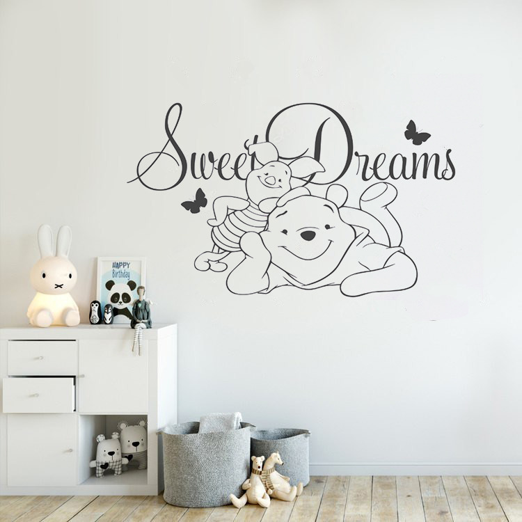 Us 6 91 25 Off Nursery Decor Winnie The Pooh Vinyl Wall Sticker Baby Sweet Dreams Decal Children Bedroom Cartoon Poster Ay1559 In