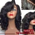 Venda barata cor # 1b preto natural onda de calor resistente onda do corpo malaio peruca dianteira do laço sintético perucas curtas para as mulheres negras