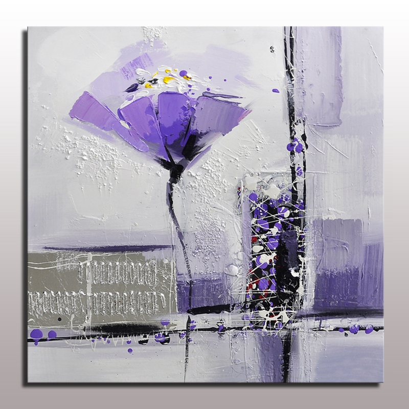 Purple Flower Oil Painting Abstract Wall Art Picture: Hand Painted Modern Abstract Purple Flower Oil Painting On