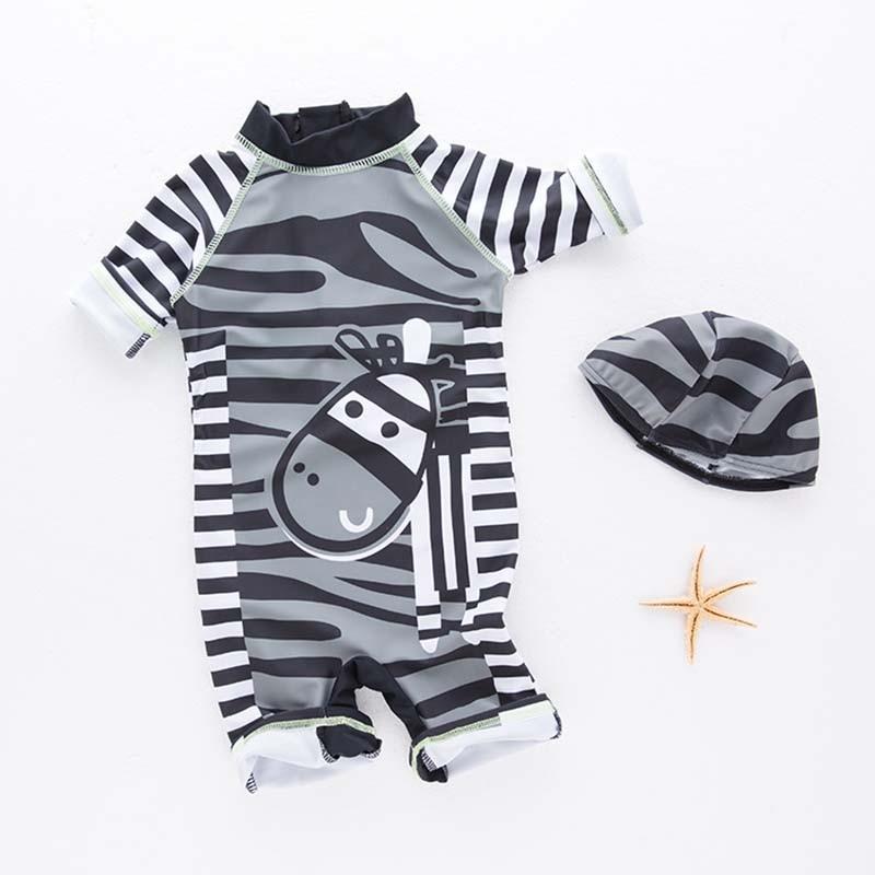 Nyan Cat Baby Boy Swimwear Children Swimsuit Bathing Beach Spa Pool Swimming Zebra Romper+Hat Suits Kids Infant Summer Clothes