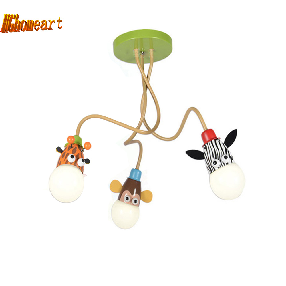 HGhomeart cartoon animal Led modern lighting chandeliers baby room Highlight Led chandelier ceiling kids 110V 220V chandelier hghomeart creative cartoon chandeliers led crystal chandelier kids room luminarias wrought iron lamp lustre suspension