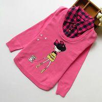 DapChild Dziewczyny Sweter Kreskówki Swetry Sweter Z Dzianiny Swetry Dla Dzieci Wiosna Dzieci Fałszywy Kołnierz Księżniczka Szydełka Odzież