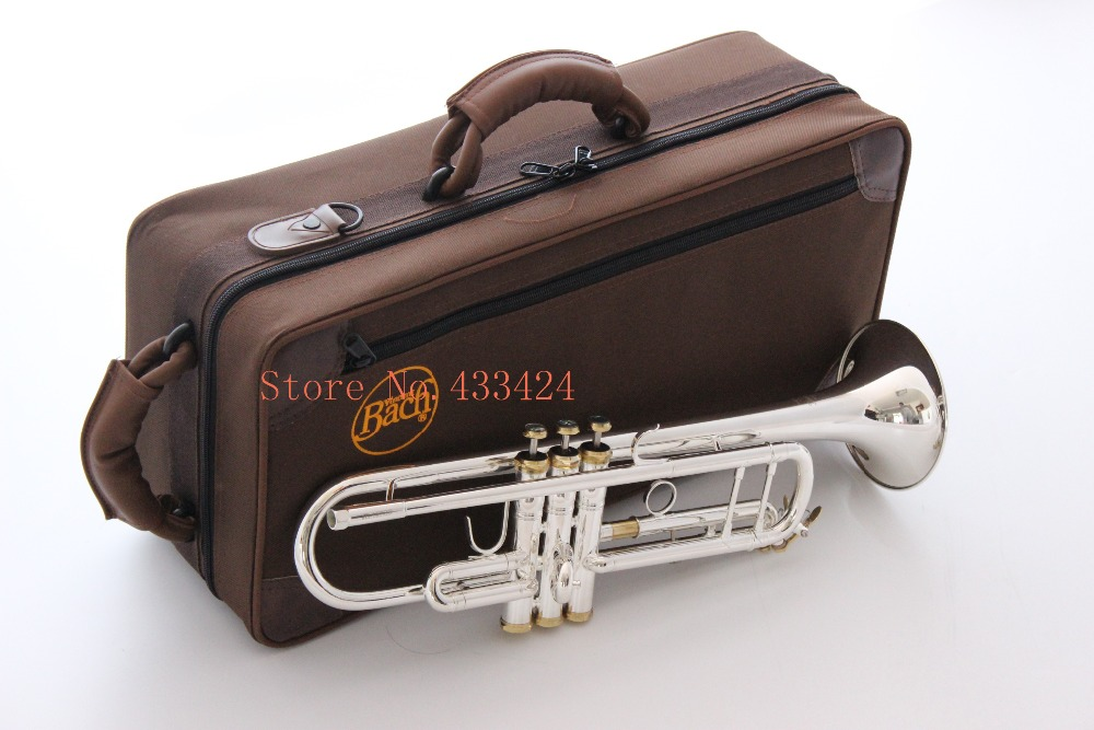 Taiwan Bach Original Silver-plated body gold key TR-197GS B flat professional trumpet bell Top musical instruments Brass horn trumpet new bach silver plated body gold key lt190s 85 b flat professional trumpet bell top musical instruments brass