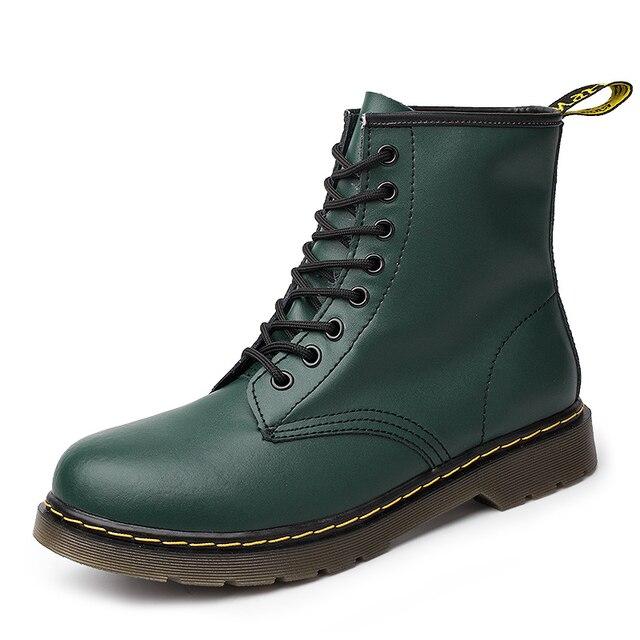 Yüksek kalite hakiki Deri Erkekler ve Kadınlar Martin Çizmeler Sansar Dr Tasarımcı Motosiklet Boots Su Geçirmez yarım çizmeler Boyutu 36-46