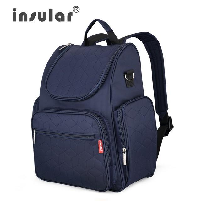 Insular elegante mochilas nappy bolsa multifuncional del pañal del bebé cambiantes bolsas de pañales para mamá envío libre