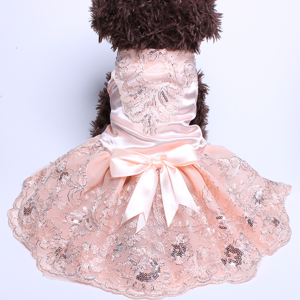 Anjing Cat Wedding Dress Tutu Princess Pet Puppy Dresses Embroidery & Bow Pakaian Apperal 3 warna