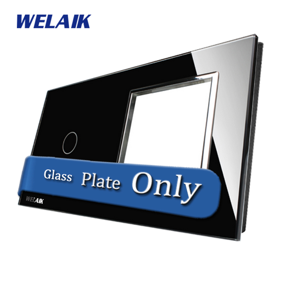 WELAIK  Touch Switch DIY Parts  Glass Panel Only of Wall Light Switch Black Crystal Glass Panel Square hole  A2918B1 eu us smart home remote touch switch 1 gang 1 way itead sonoff crystal glass panel touch switch touch switch wifi led backlight