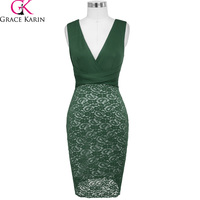 Grace Karin Lace Short Prom Dresses 2018 Sexy V Neck Cocktail Party Dress Knee Length Black Wine Red Green Formal Bodycon Dress