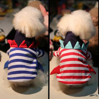 Winter Clothing For Small Yorkie Dogs Pet Dog Striped Shark Coats White Coral Velvet Warm XS/S/M/L/XL