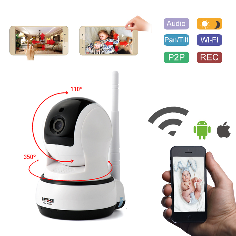 DAYTECH Wireless IP Network Security Camera 720P Wifi Surveillance Video Baby  Monitor P/T Camera Two-way Audio On Mobile DTC102 daytech wireless ip network security camera 720p wifi surveillance video baby monitor p t camera two way audio on mobile dtc102