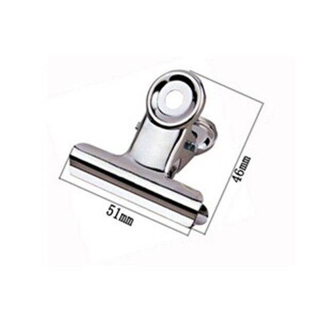 Ücretsiz Kargo (36 adet/grup) 51mm yuvarlak üst Kavrama Klipler Bulldog klip paslanmaz çelik kağıt klip Ofis tedarik metal fatura klip