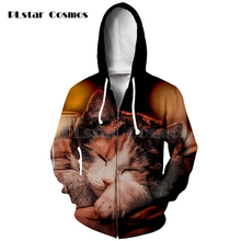 Cat Printed 3d Zipper Hoodies Unisex Hoodie Hooded Sweatshirts Men Women Brand Tracksuits Fashion Casual Streetwear new 2019 men 3d hoodies pineapple vegetable fruit men zipper hoodie washed casual men sweatshirts long sleeve pineapple hoodies
