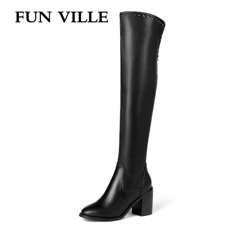 FUN VILLE 2018 New Style Women over the knee Boots Genuine Leather Winter High heel Boots Warm Pointed toe Zipper Big size 34-45 цена 2017
