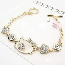 Cute Gold Crystal Cats Charm Bracelets For Women Jewelry With Rhinestone Stones Kitty Kors Female Bracelet Pulseras Mujer B0127