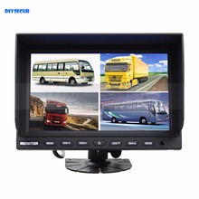 DIYSECUR High Quality 9 Inch Split Quad Display Color Rear View Monitor Video Security Monitor for Car Truck Bus CCTV Camera