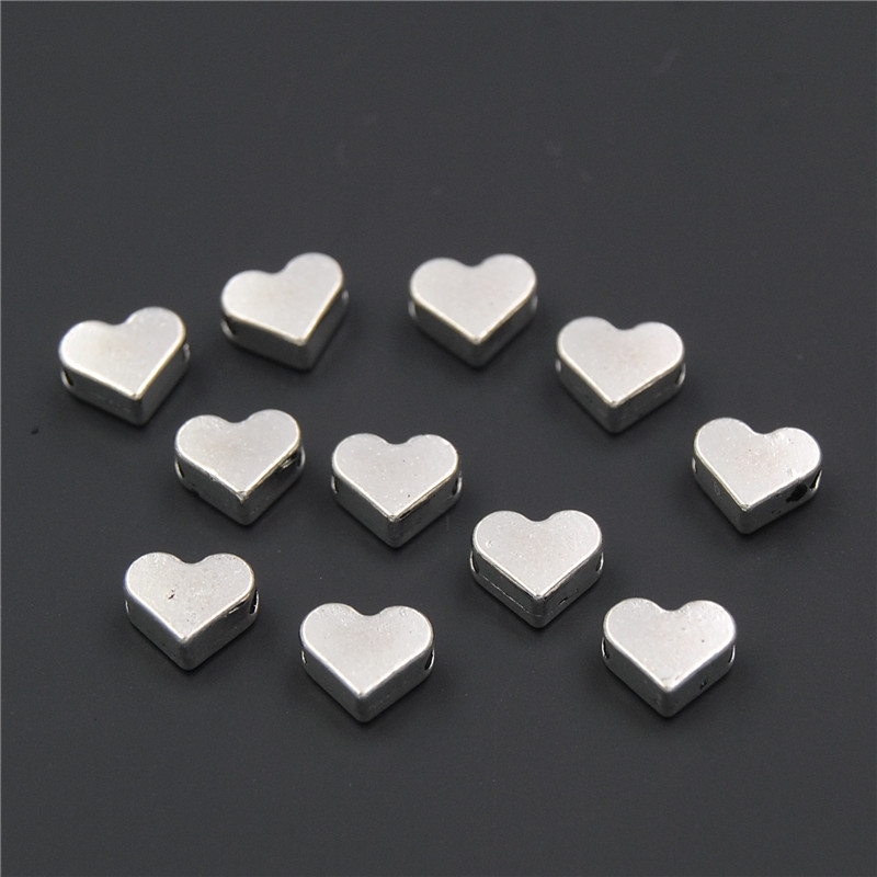 100PCS Silver gold Heart European Small Hole Spacer Beads Fits Diy Handmade Charm Bracelets Accessories