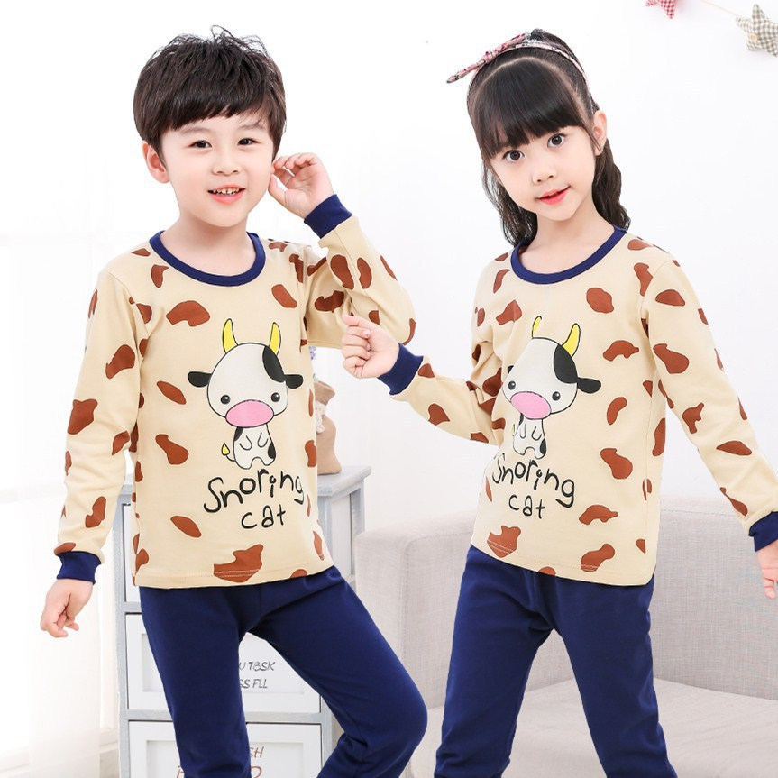 SAILEROAD Children's Autumn   Pajamas     Set   Kids Cartoon Cute Cow Pyajamas Boys Girls Long Sleeve Clothes Pijama Infantil Sleepwear