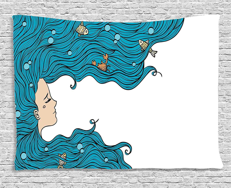 Mermaid Decor Tapestry สาวใหญ่ผมทรงผม Fly Away Fairy Tale Sleeping งานศิลปะแขวนผนังห้องนอนห้องนั่งเล่น Dorm