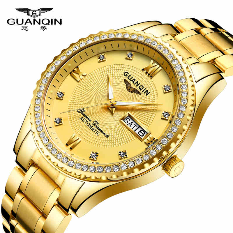 GuanQin luxury golden Business Watches Top Brand automatic watch Men Week date Sapphire mirror mechanical watches skeleton watch mens mechanical watches top brand luxury watch fashion design black golden watches leather strap skeleton watch with gift box