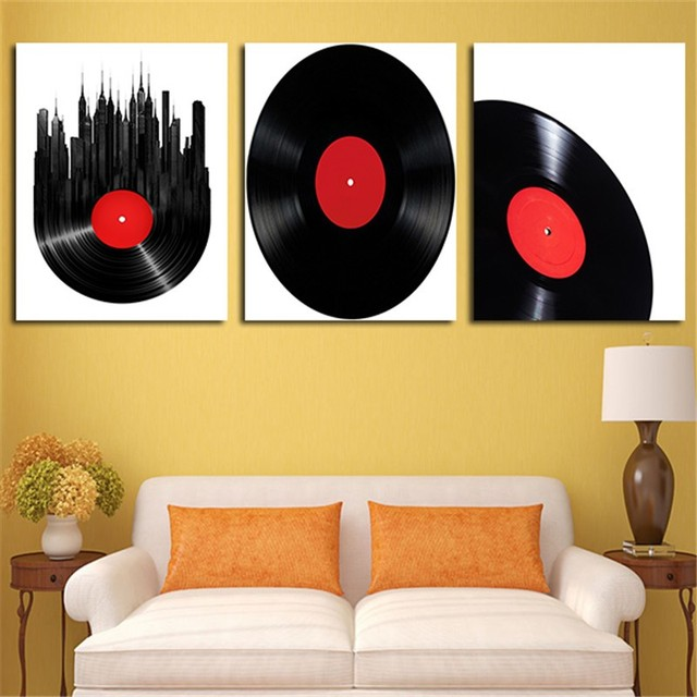 Modern 3 Panel The Disc Vinyl Wall Painting Canvas Poster Print Art ...