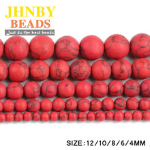 JHNBY Matte Red calaite Natural Stone Round ball 4/6/8/10/12MM Loose beads for jewelry Finding making bracelet accessories DIY()
