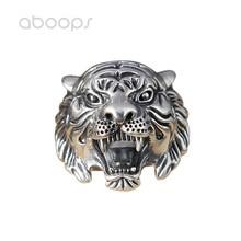 Cool Vintage 925 Sterling Silver Tiger Head Index Finger Ring for Men Boys Adjustable Free Shipping vintage cross decorated index finger women men s ring