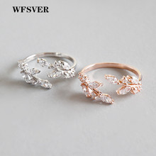 WFSVER women rose gold/silver 925 sterling silver ring bohemia with white crystal leaf shape opening adjustable jewelry
