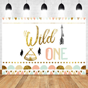 Image 1 - Mehofoto Wild One Birthday Photo Background Baby Party Banner Backdrop Newborn Gold Sequin Customized Backdrops for Studio Shoot