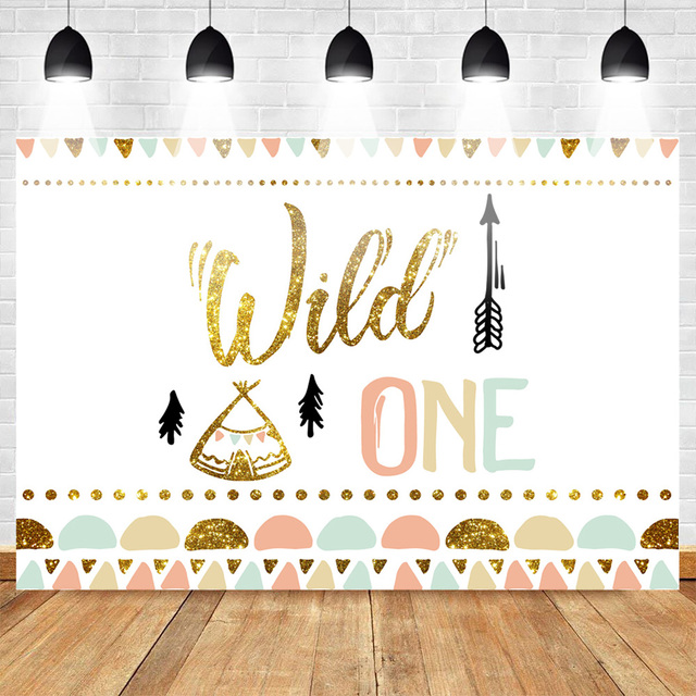 Mehofoto Wild One Birthday Photo Background Baby Party Banner Backdrop Newborn Gold Sequin Customized Backdrops for Studio Shoot