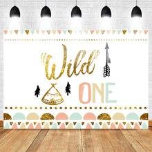 Mehofoto Wild One Di Compleanno Foto di Sfondo Del Bambino Del Partito Banner Sfondo Neonato Oro Con Paillettes Su Misura Fondali per Studio Sparare