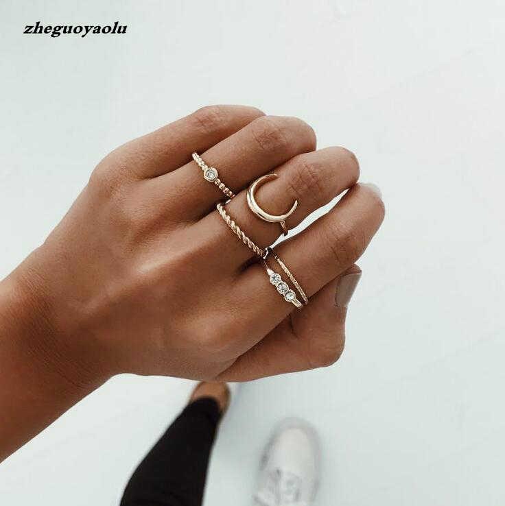 Conjuntos De Europeus E Americanos Temperamento Simples 5 Lua Liga Belas Anel Jóias Anéis de Casamento Anéis de Ouro Anel de Combinação