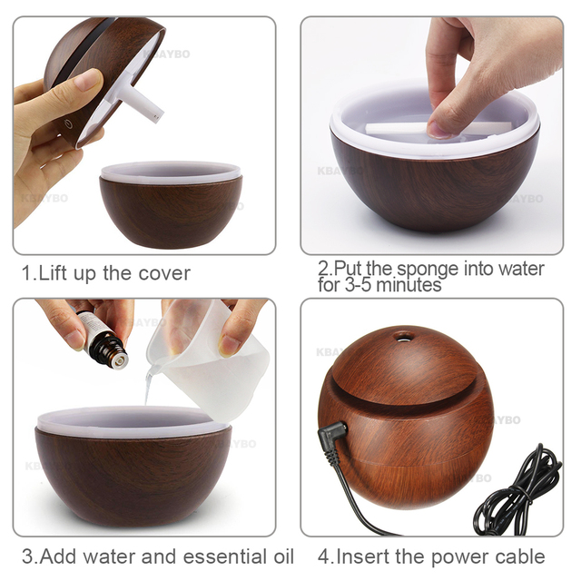 Mini Ultrasonic Air Humidifier USB Aroma Diffuser Wood Grain LED Night Light  Electric Essential Oil  Diffuser Air Purifier Mist