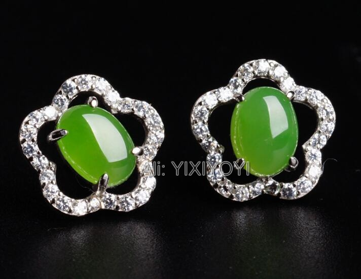 Belle 925 argent vert HeTian Jade perles incrusté étoile creux Style boucles d'oreilles femme porte-bonheur boucle d'oreille bijoux certificat