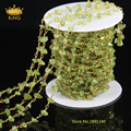 5Meter/Lot  Natural Olivine Wire Wrapped DIY Chain,Chips Beaded Chain,Gold Plated Nuggets Necklace Gift Supplies Jewelry JD0122