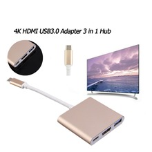 1pcs Type C USB 3.1 to USB-C 4K HDMI USB3.0 Adapter 3 in 1 Hub For Apple Macbook Multiport Whole Aluminum Metal Case Adapter