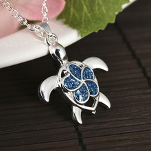 New Silver Filled Blue Opal Sea Owl Turtle Pendant Necklaces for Women Animal Chain Necklace Beach Fashion Jewelry Gift 2019(China)