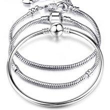 Высокое качество 17-21 см посеребренный Змеиный браслет-цепочка Подходит для европейских браслетов-шармов для женщин DIY Изготовление ювелирных изделий