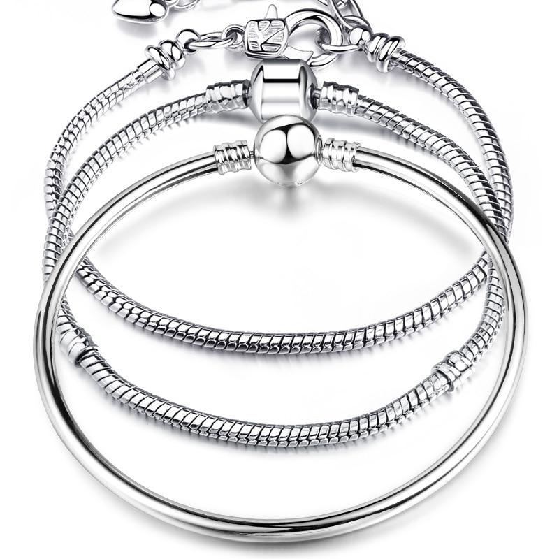 High Quality 17-21cm Silver Snake Chain Link Bracelet Fit European Charm Brand Bracelet for Women DIY Jewelry Making пандора браслет с шармами