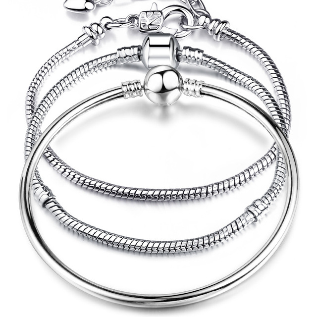 באיכות גבוהה 17-21cm כסף נחש שרשרת קישור צמיד Fit אירופאי קסם פנדורה צמיד לנשים DIY תכשיטים ביצוע