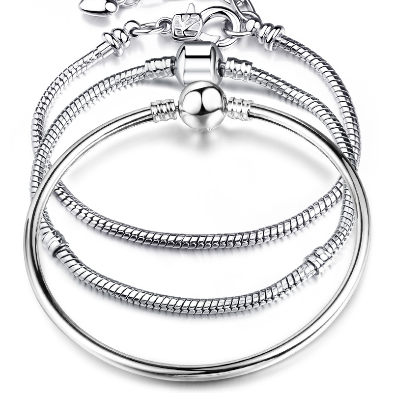 High Quality 17-21cm Silver Plated Snake Chain Link Bracelet Fit European Charm Bracelet for Women DIY Jewelry Making