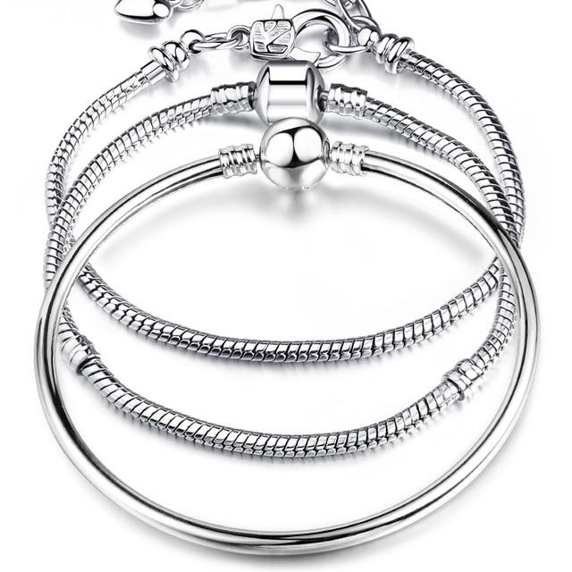 High Quality 17-21cm Silver Snake Chain Link Bracelet Fit European Charm Pandora Bracelet for Women DIY Jewelry Making