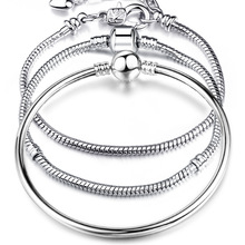 Pulsera de eslabones de cadena de serpiente de plata de 17-21cm de alta calidad, pulsera de marca de encanto europeo para mujer, joyería de bricolaje hacer