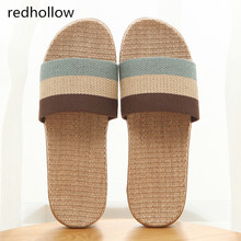Summer home slippers Flax Indoor Floor Shoes Cross Belt Silent Sweat Slippers For Summer Women Sandals Slip On Slippers Couple недорого
